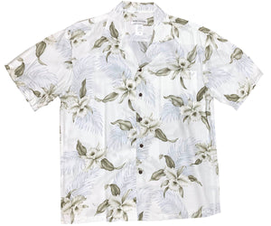 Kahala Orchid White Hawaiian Shirt