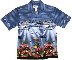Colorful Reef Blue Hawaiian Shirt