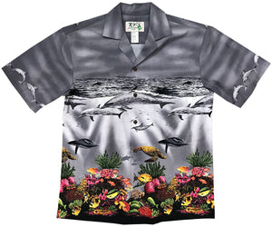 Colorful Reef Gray Hawaiian Shirt