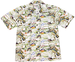 Hawaiian Sea Life Green Hawaiian Shirt