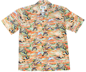 Hawaiian Sea Life Orange Hawaiian Shirt