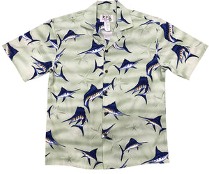 Marvelous Marlin Green Hawaiian Shirt