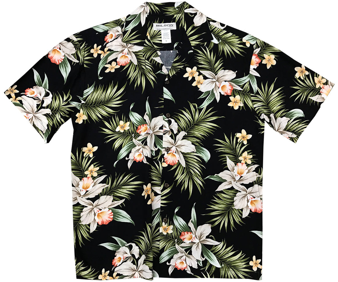 Pacific Orchid Black Hawaiian Shirt