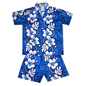 White Hibiscus Panel Blue Boy's Hawaiian Shirt and Shorts