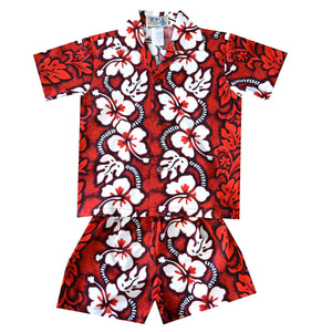 White Hibiscus Panel Red Boy's Hawaiian Shirt and Shorts