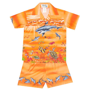 Shark Storm Orange Boy's Hawaiian Shirt and Shorts