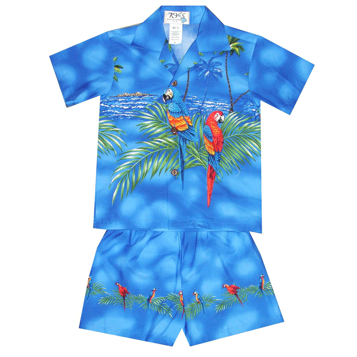 Double Parrot Blue Boy's Hawaiian Shirt and Shorts