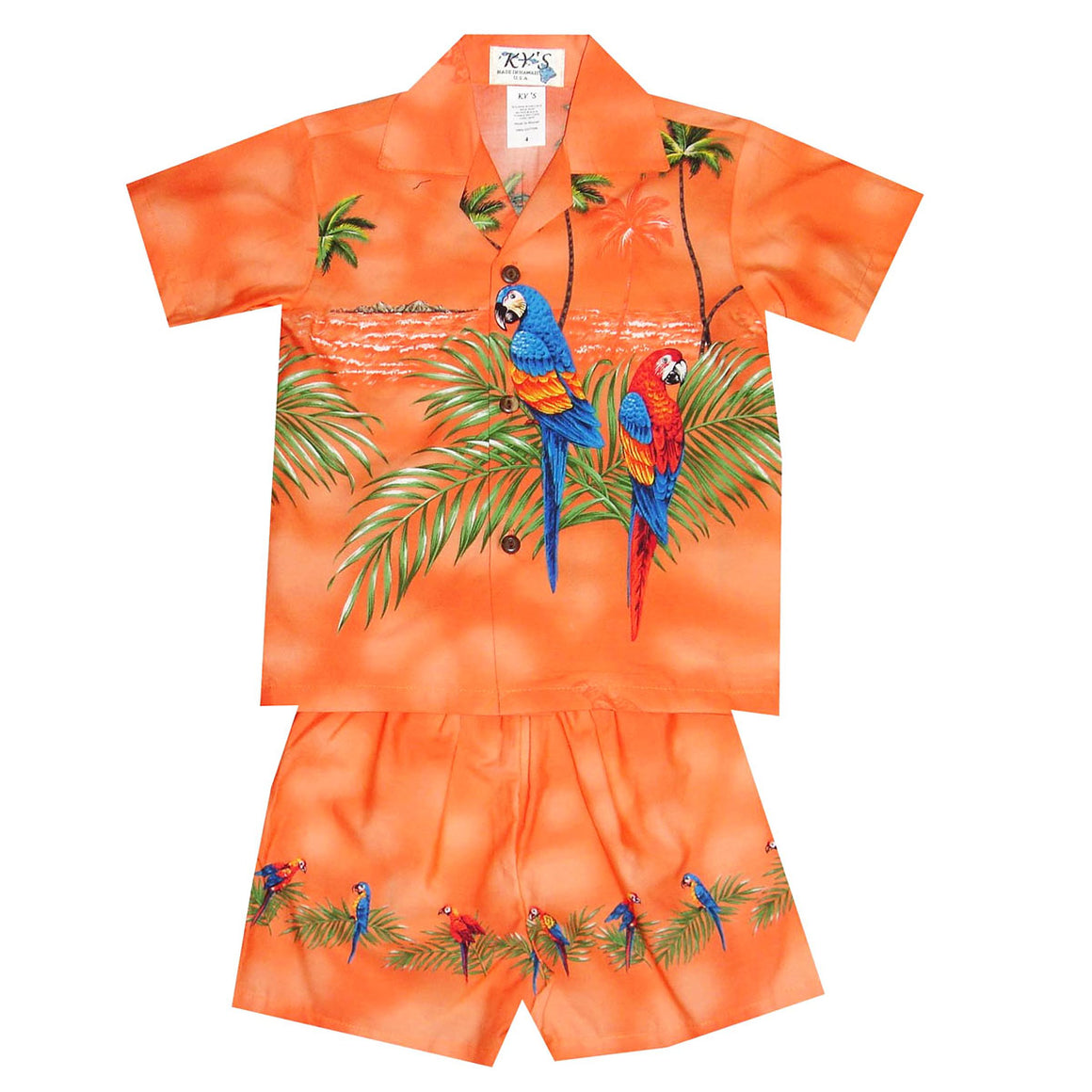 Double Parrot Orange Boy's Hawaiian Shirt and Shorts