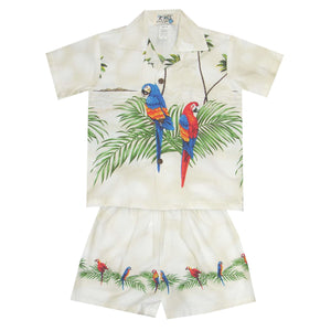 Double Parrot White Boy's Hawaiian Shirt and Shorts