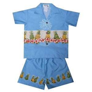 Pineapple Row Blue Boy's Hawaiian Shirt and Shorts