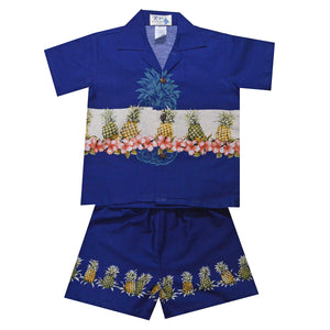 Pineapple Row Navy Boy's Hawaiian Shirt and Shorts