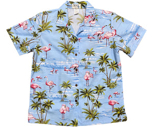 Flamingo Island Blue Women's Hawaiian Shirt