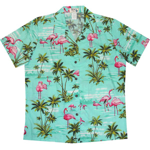 Flamingo Island Green Women's Hawaiian Shirt
