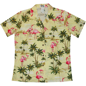 Flamingo Island Yellow Women's Hawaiian Shirt