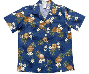 Pineapple Pack Navy Women's Hawaiian Shirt