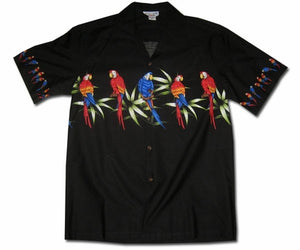 Macaw Madness Black Hawaiian Shirt