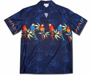 Macaw Madness Navy Hawaiian Shirt