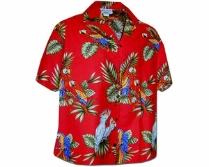 Macaws and Cockatoos Red Women's Hawaiian Shirt