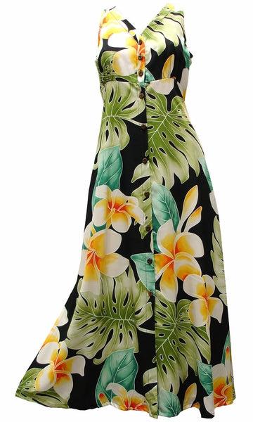 Mega Plumeria Black Button Front Tank Dress