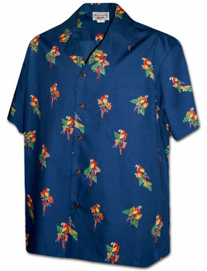 Mini Macaws Navy Hawaiian Shirt