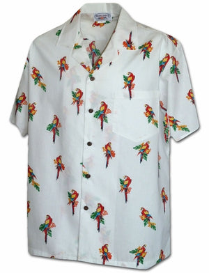 Mini Macaws White Hawaiian Shirt