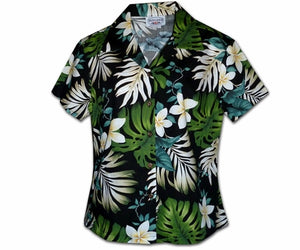 Ms Monstera Black Fitted Women's Hawaiian Shirt