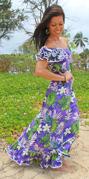 Ms Monstera Purple Ruffle Shoulder Muumuu