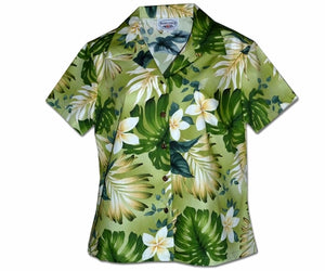 Ms Monstera Sage Fitted Women's Hawaiian Shirt