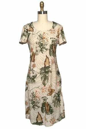 Orchid Monstera Beige A-Line Dress with Cap Sleeves