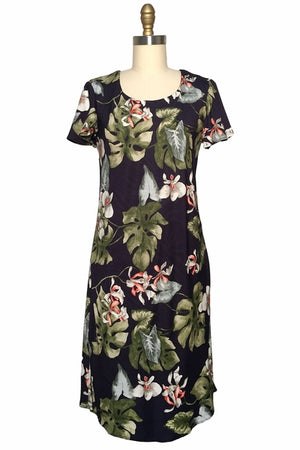 Orchid Monstera Black A-Line Dress with Cap Sleeves