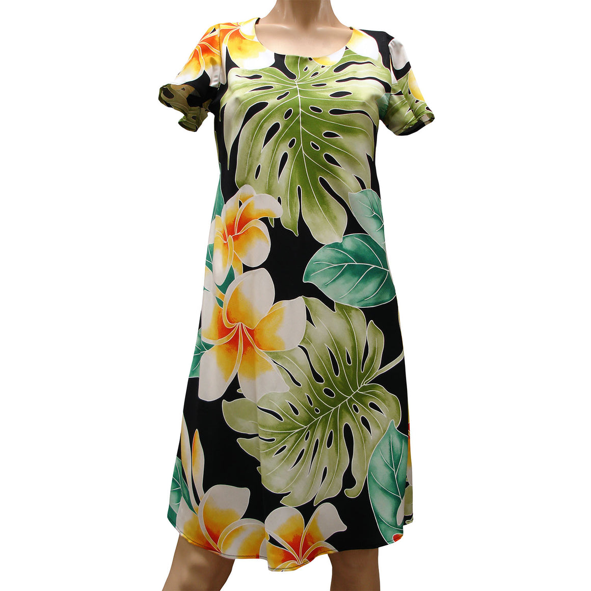 Mega Plumeria Black A-Line Dress with Cap Sleeves