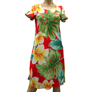 Mega Plumeria Red A-Line Dress with Cap Sleeves