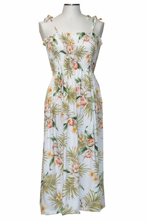 Pacific Orchid White Mid-Length Tube Dress
