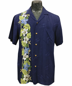 Pacific Paradise Navy Hawaiian Shirt