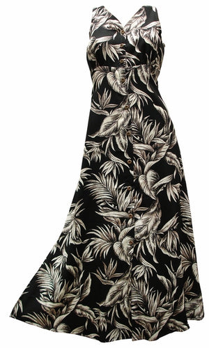 Paradise Jungle Black Button Front Tank Dress