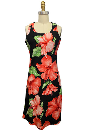 Super Hibiscus Black Tank Dress