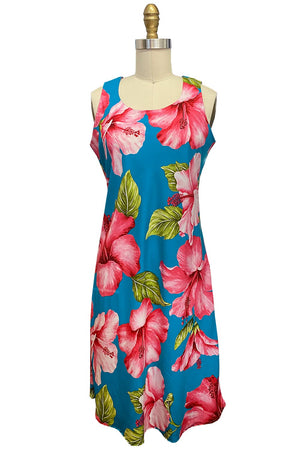 Super Hibiscus Teal Tank Dress