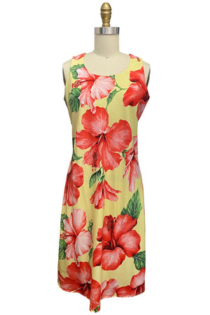 Super Hibiscus Yellow Tank Dress