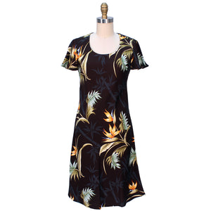 Bamboo Paradise Black A-Line Dress with Cap Sleeves
