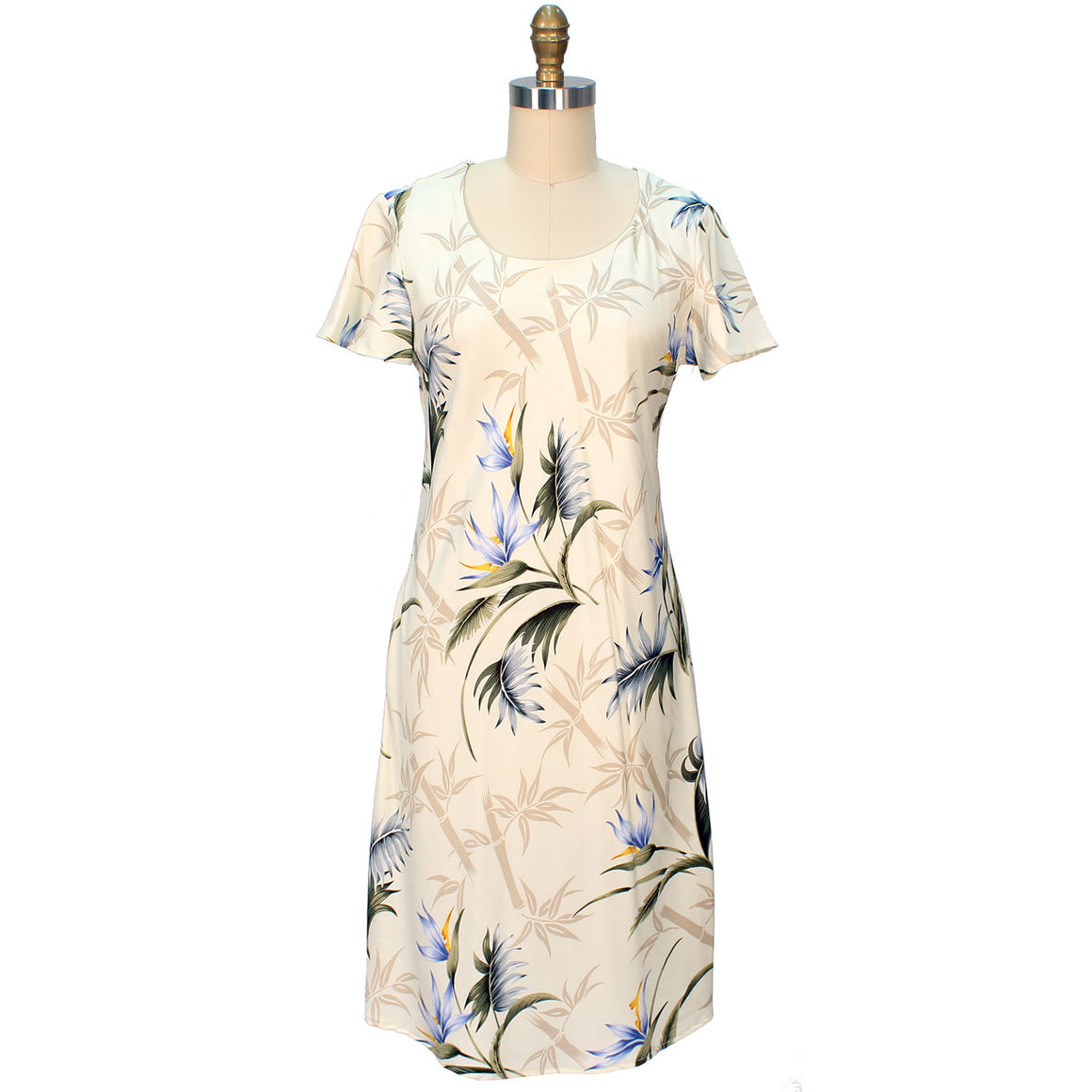 Bamboo Paradise Cream A-Line Dress with Cap Sleeves
