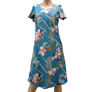 Bamboo Orchid Blue A-Line Dress with Cap Sleeves