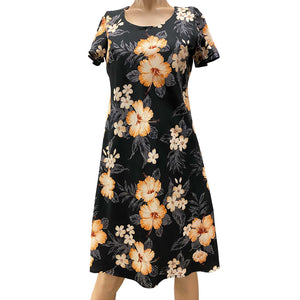 Hibiscus Resort Black A-Line Dress with Cap Sleeves