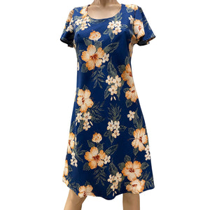 Hibiscus Resort Navy A-Line Dress with Cap Sleeves