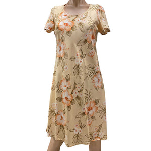 Hibiscus Resort Peach A-Line Dress with Cap Sleeves