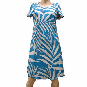 Islander Fronds Blue A-Line Dress with Cap Sleeves