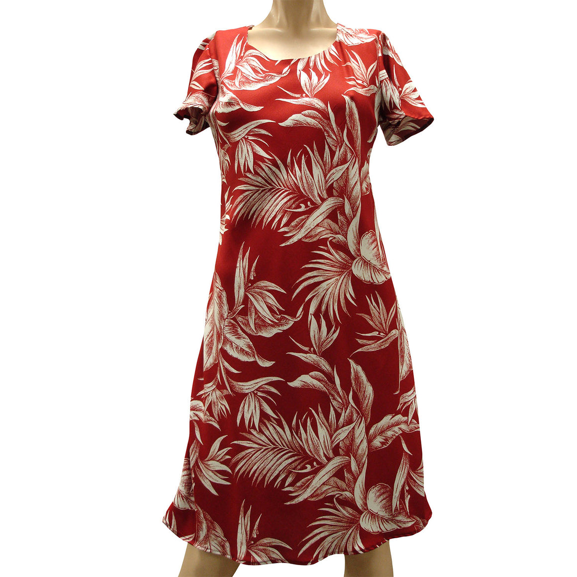 Paradise Jungle Red A-Line Dress with Cap Sleeves