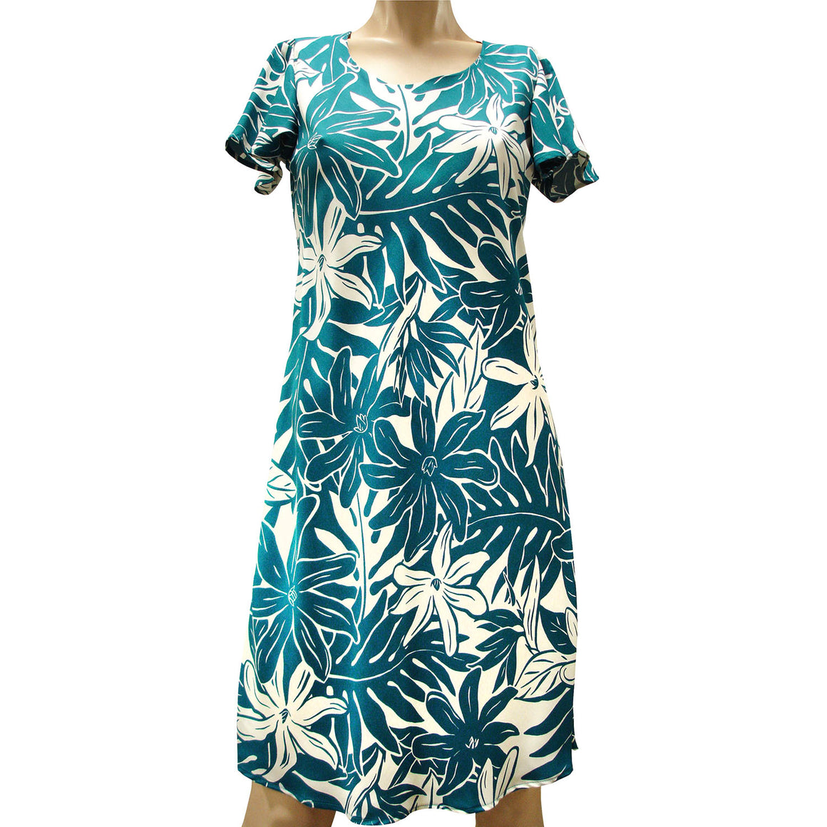 Tahitian Garden Teal A-Line Dress with Cap Sleeves