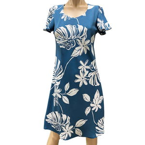 Tiare Fest Blue A-Line Dress with Cap Sleeves