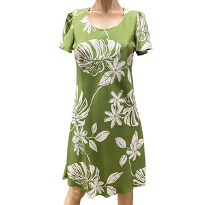 Tiare Fest Green A-Line Dress with Cap Sleeves