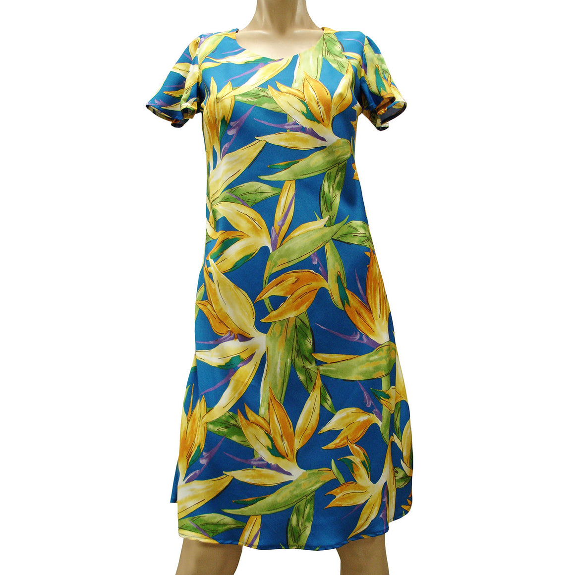 Watercolor Paradise Blue A-Line Dress with Cap Sleeves